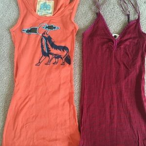 2 Free People tank tops! X-small XS Orange and Red
